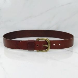 Boho Trendy Brown Leather Horse Bit Buckle Belt L